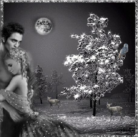 Анимация Влюбленные стоят на фоне зимнего пейзажа