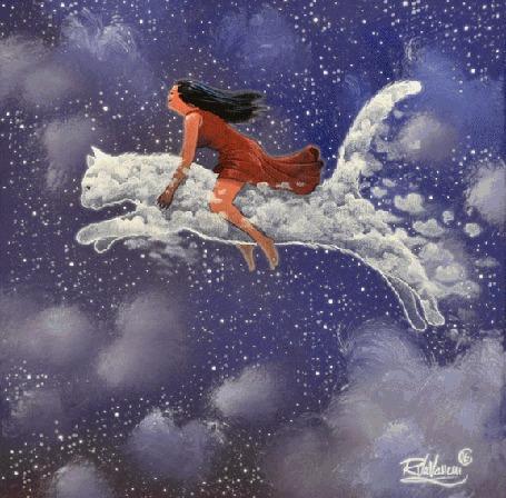 Анимация Девочка на облачном коте, ву raphael vavasseur