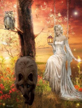 Анимация Девушка сидит на качели рядом с волком
