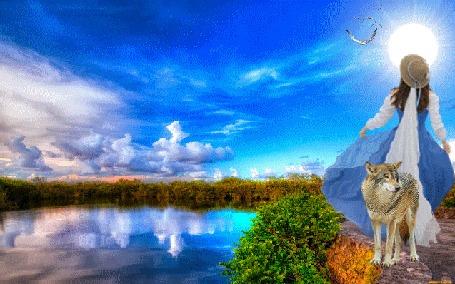 Анимация Девушка и волк на берегу озера под яркими лучами солнца
