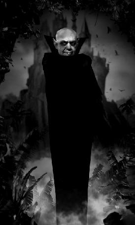 Анимация Граф Дракула в черном плаще
