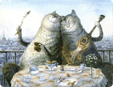 Анимация Два кота за столом поют и закусывают