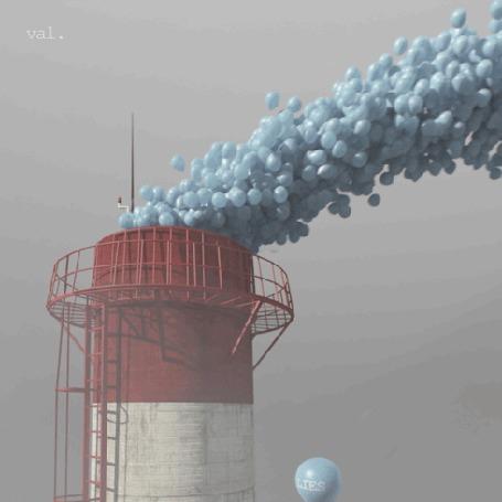 Анимация Из трубы вылетают воздушные шары