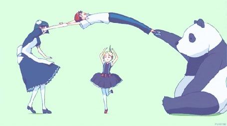Анимация Девушка и панда подбрасывают парня, через которого прыгает девочка