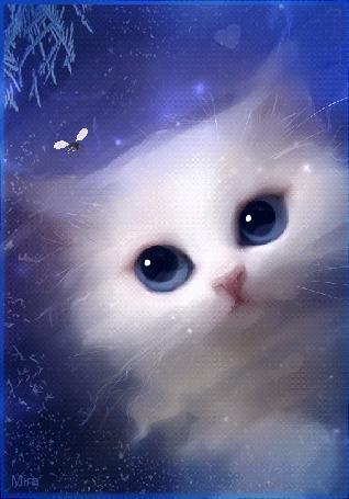 Анимация Белый котенок наблюдает за мухой, by mira