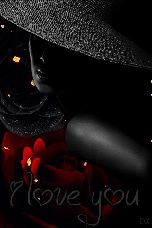 Анимация Девушка в черной и блестящей шляпке на фоне расцветающей красной розы / I love you / Я люблю тебя, by DX (© dixinox), добавлено: 19.03.2016 01:51