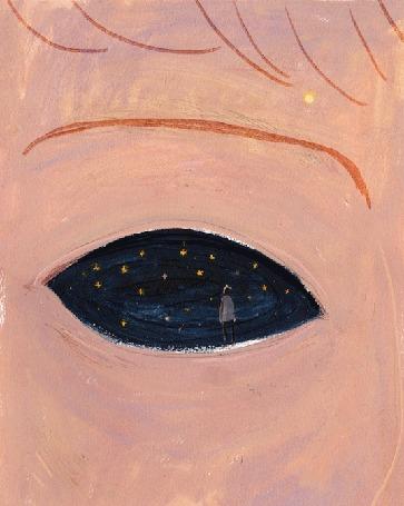 Анимация Моргающий глаз, в котором стоит парень на фоне космоса (© zmeiy), добавлено: 19.03.2016 15:50