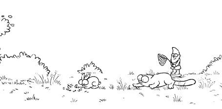 Анимация Кот гоняется за кроликом