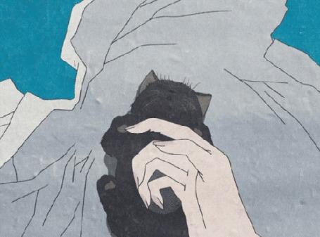 Анимация Милый черный котик кусает за палец