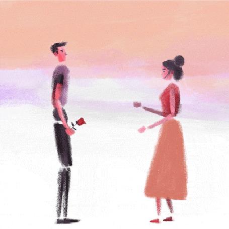Анимация Парень дарит розу девушке (© zmeiy), добавлено: 21.03.2016 16:43