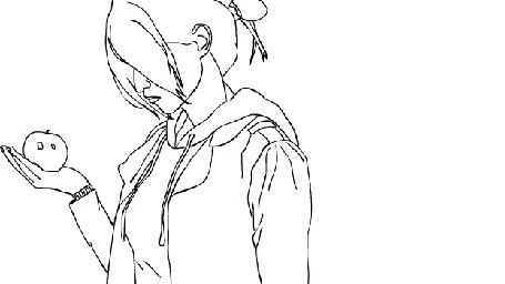 Анимация Девушка смотрит на яблоко, которое разлетается
