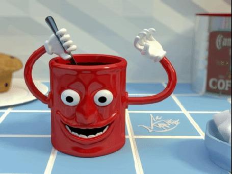 Анимация Красная кружка кидает сахар внутрь себя и ложкой размешивает кофе (© zmeiy), добавлено: 23.03.2016 22:00