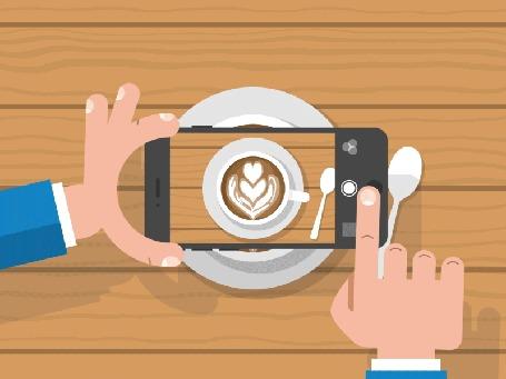 Анимация Мужчина снимает на мобильный телефон рисунок на кофе, by Zac Dixon