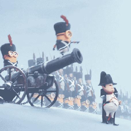 Анимация Миньоны в эпоху Наполеона Бонапарта, в роли французских солдат, мультфильм Миньоны / Minions