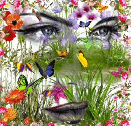 Анимация Портрет девушки с бабочками
