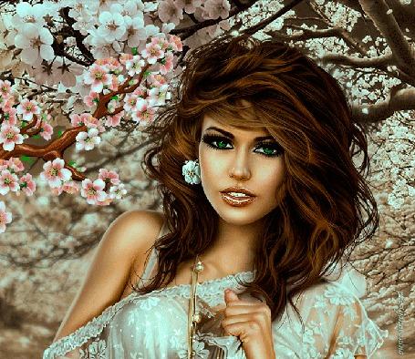 Анимация Гламурная шатенка в цветущем саду, by persiyanovanina