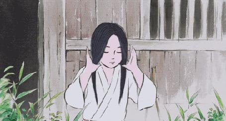 Анимация Девушка-китаянка поправляет волосы