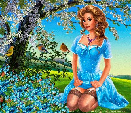 Анимация Блондинка с вьющимися волосами и платье в горошек сидит на траве рядом с цветущими деревьями, by persiyanovanina