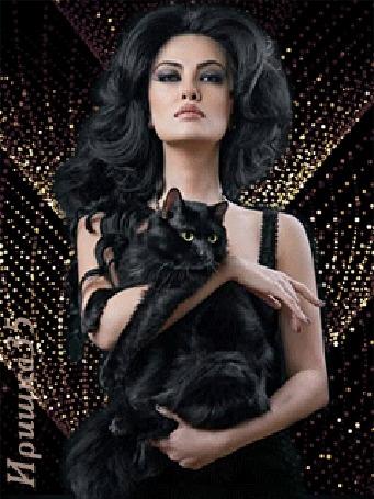 Анимация Девушка держит на руках черного кота, Иришка35