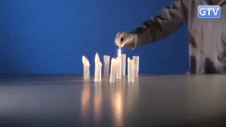 Анимация Человек поджигает бумагу, свернутую в трубочки, телеканал GTV