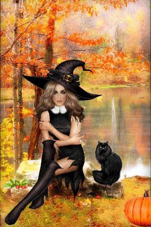 Анимация Ведьма с черным котом сидит возле озера, by sima