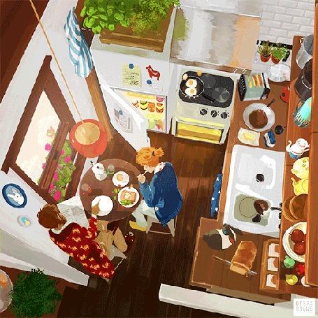 Анимация На небольшой кухне кипит утренняя жизнь: завтрак сам себя готовит, мужчина читает газету, девушка ест бутерброд, работа художницы Sparrows (made of Sparrows)