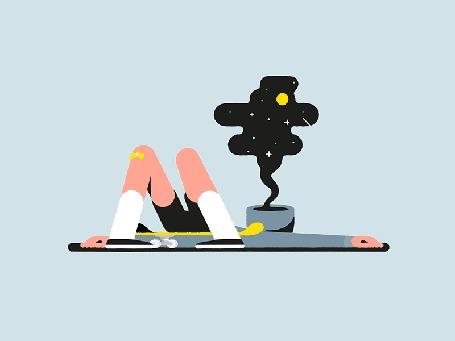 Анимация Скейтер лежит на земле, созерцая звездное небо