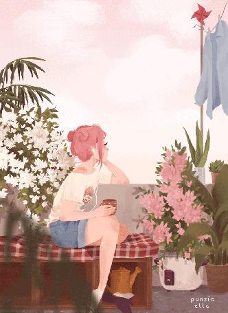Анимация Девушка слушает музыку и пьет чай на крыше дома, by muttonfudge