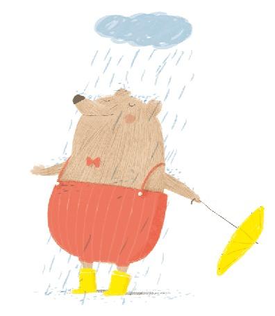 Анимация Милый медвежонок стоит под дождем