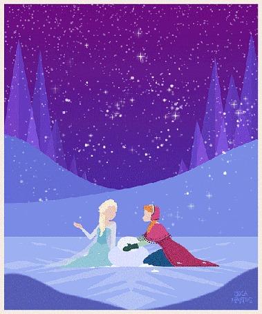 Анимация Эльза и Анна / Anna and Elsa лепят снеговика в снегопад, мультфильм Холодное Сердце / Frozen, автор арта Jeca Martinez