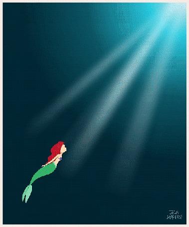 Анимация Русалочка / The Little Mermaid плывет вверх, автор арта Jeca Martinez