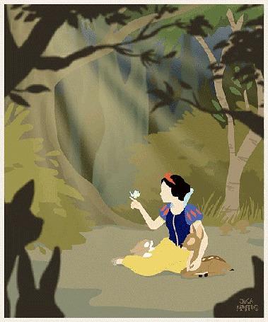 Анимация Белоснежка / Snow White общается со зверями в лесу, автор арта Jeca Martinez