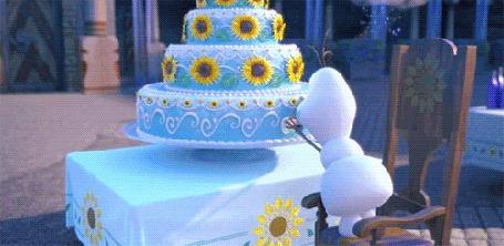 Анимация Снеговик Олаф / Olaf поедает торт, момент из мультика Холодное сердце / Frozen (короткометражка Холодное торжество / Frozen Fever)