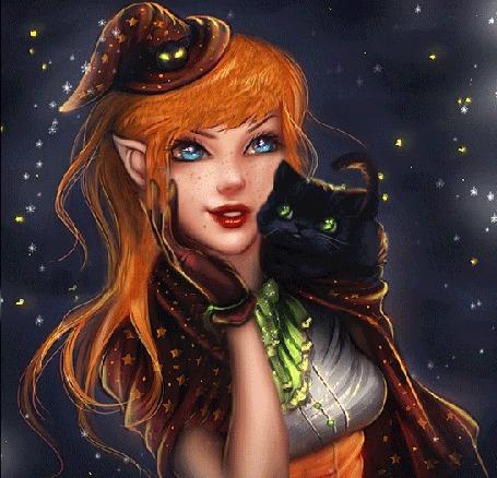 Анимация Девушка - ведьма обнимает черную кошку на фоне звездного неба