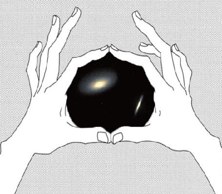 Анимация Два небесных тела сталкиваются и формируют одно целое, вид на вселенную через руки человека