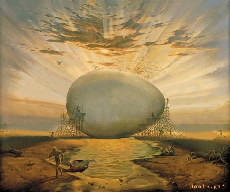 Анимация Яйцо разбивается и открывается вид на солнце, анимированная картина Владимира Куша, автор JoelR