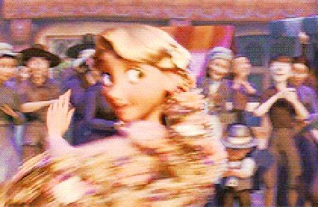 Анимация Рапунцель кружится в танце с Флином / Flynn, мультфильм Рапунцель: Запутанная история / Tangled