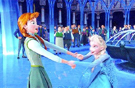 Анимация Эльза и Анна / Anna and Elsa катаются на коньках рядом с фонтаном, мультфильм Холодное Сердце / Frozen