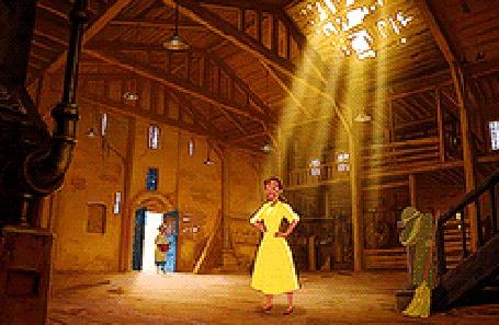Анимация Принцесса Tiana / Тиана кружится в сарае, из мультфильма Принцесса и лягушка / The Princess and the Frog