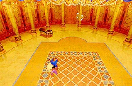 Анимация Белль / Belle танцует с чудовищем в зале, мультфильм Красавица и чудовище / Beauty and the Beast