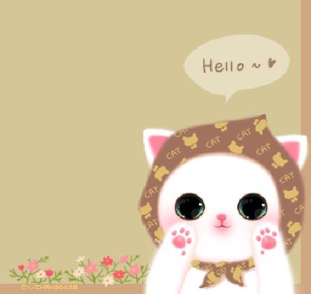 Анимация Белый котенок в платочке здоровается (Hello / Привет), корейские котята by chango448