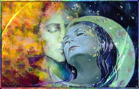 Анимация На фоне неба и месяца мужчина и девушка прислонились друг к другу