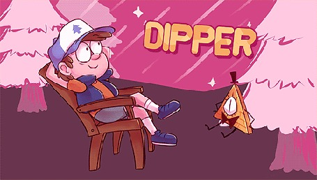 Анимация Dipper / Диппер сидит на стуле в леу, персонаж мультсериала Гравити Фолз / Gravity Falls