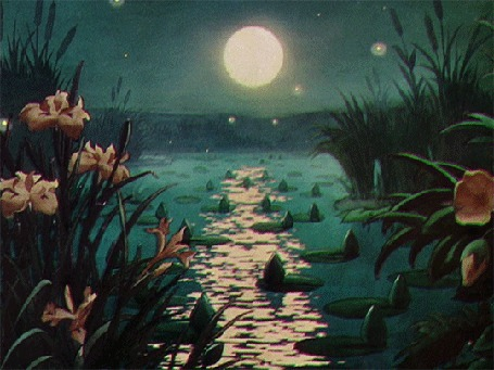 Анимация Луна освещает природу, образуя на воде лунную дорожку, Silly Symphony - Water Babies