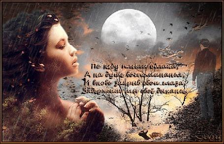 Анимация На фоне неба и луны образ девушки, смотрящей в след уходящему мужчине. (На небе плыли облака, А на душе воспоминанья, И вновь закрыв свои глаза, Задержим мы свое дыханье.) © 2007-2015