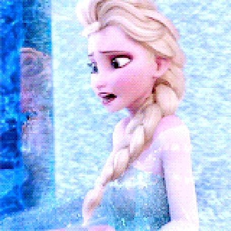 Анимация Эльза / Elsa поправляет волосы в снегопад, Мультфильм Холодное сердце / Frozen