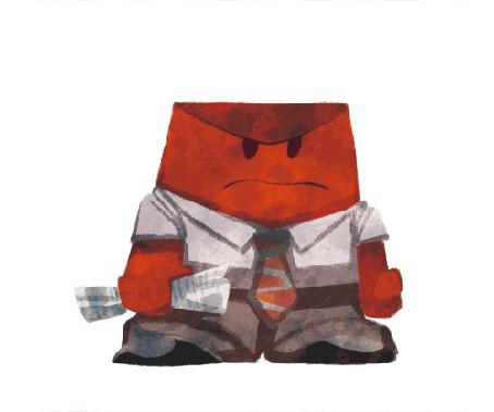 Анимация Гнев / Anger злится и воспламеняется, арт к мультфильму Головоломка / Inside Out