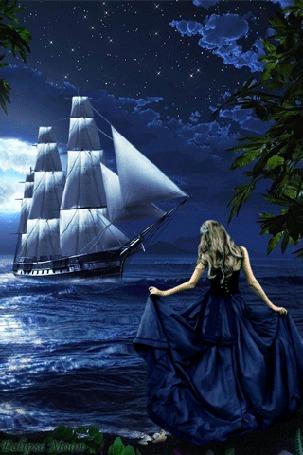 Анимация Девушка ждет корабль на берегу (Eclipse moon)