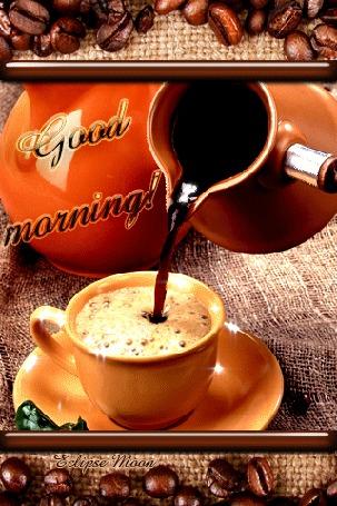 Анимация Good morning / С добрым утром, чашка кофе (© Eclipse Moon), добавлено: 05.04.2016 17:38
