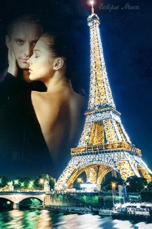 Анимация Эйфелева башня на фоне двух влюбленных в небе, Париж, Франция / Eiffel tower, Paris, France